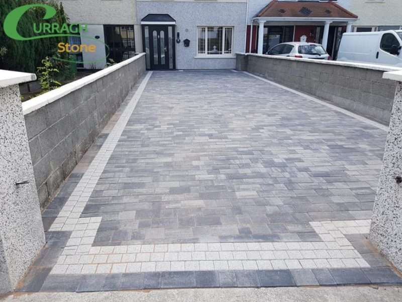 Charcoal Driveway Paving WIth Granite Silver Border